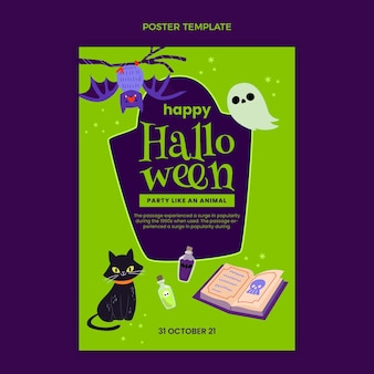 Plantilla de cartel vertical plano de halloween