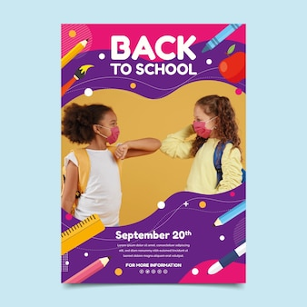 Plantilla de cartel vertical plano de regreso a la escuela con foto