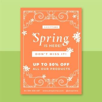 Plantilla de cartel vertical de primavera monocolor ornamental