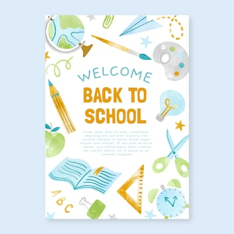 Plantilla de cartel vertical de regreso a la escuela en acuarela