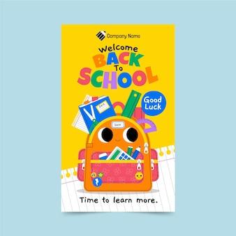 Plantilla de cartel vertical de regreso a la escuela de dibujos animados