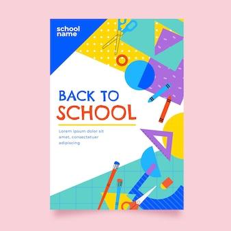Plantilla de cartel vertical de regreso a la escuela plana