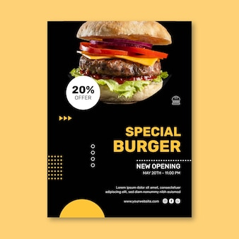Plantilla de cartel vertical de restaurante de hamburguesas