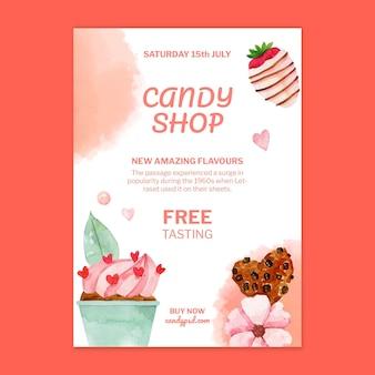 Plantilla de cartel vertical de tienda de dulces