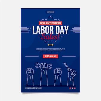 Plantilla de cartel vertical de venta del día del trabajo plano