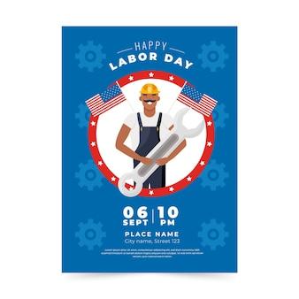 Plantilla de cartel vertical de venta del día del trabajo