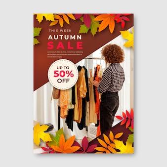 Plantilla de cartel vertical de venta de otoño degradado con foto
