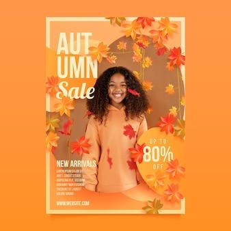Plantilla de cartel vertical de venta de otoño realista con foto