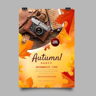 Plantilla de cartel vertical de venta de otoño realista