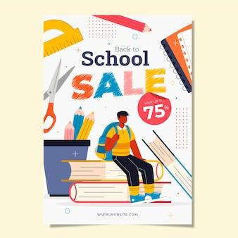 Plantilla de cartel vertical de venta de regreso a la escuela