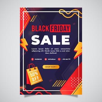 Plantilla de cartel vertical de viernes negro plano