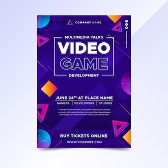 Plantilla de cartel de videojuego degradado
