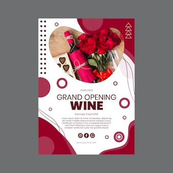 Plantilla de cartel de vino de gran inauguración