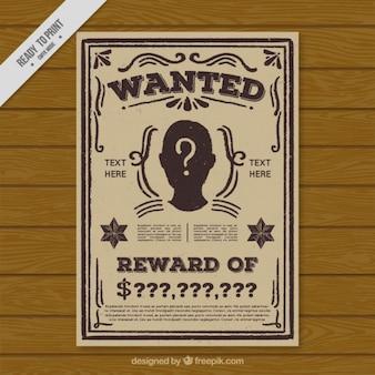 Plantilla de cartel vintage de busca criminal