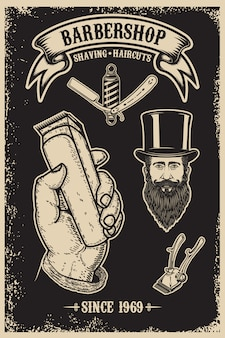 Plantilla de cartel vintage de peluquería. elemento para cartel, emblema, signo, camiseta. ilustración