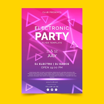Plantilla de cartel violeta degradado fiesta electrónica