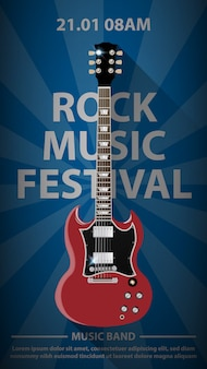 Plantilla de cartel de volante de festival de música rock