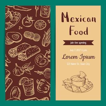 Plantilla de cartel y volante o invitación de banner para restaurante cafetería con elementos de comida mexicana esbozada