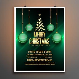 Plantilla de cartel de volante verde de navidad con bola y árbol