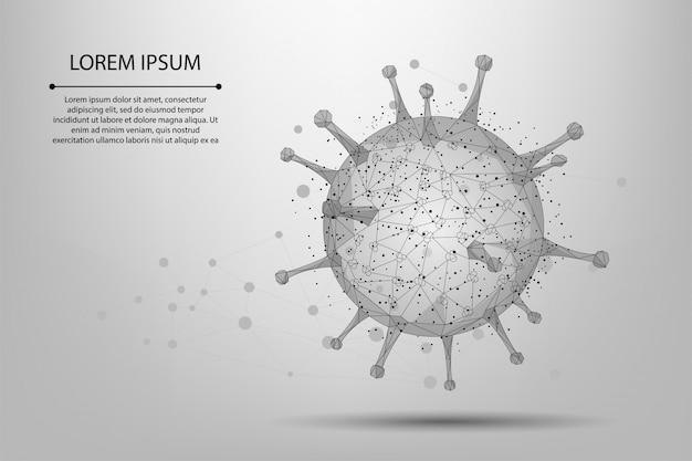 Plantilla de celda de línea abstracta y punto virus