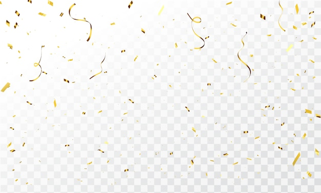 Plantilla de celebración con confeti y cintas de oro. tarjeta de felicitación de lujo.