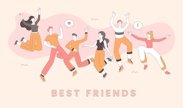 Plantilla de celebración del día de la amistad. mejores amigos festejando juntos, hombres y mujeres alegres personajes de dibujos animados. adultos jóvenes alegres en ropa casual divirtiéndose ilustración del esquema