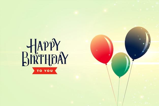 Plantilla de celebración de fondo de globos de feliz cumpleaños