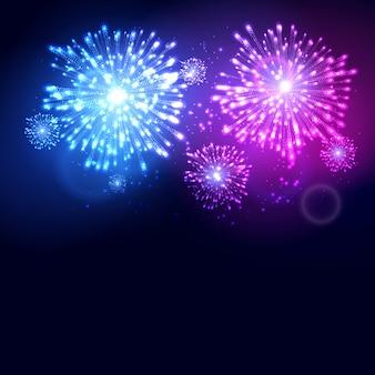 Plantilla de celebración navideña de año nuevo de fuegos artificiales. fondo de evento de carnaval de llama de fuegos artificiales coloridos.