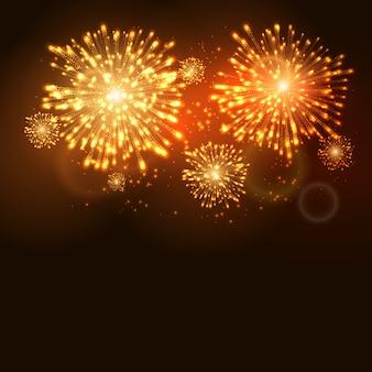 Plantilla de celebración navideña de año nuevo de fuegos artificiales. fondo de evento de carnaval de llama de fuegos artificiales.