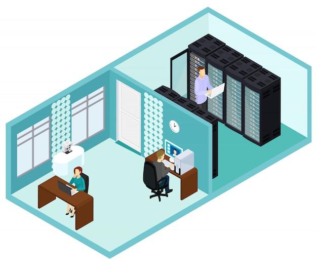 Plantilla de centro de datos isométricos