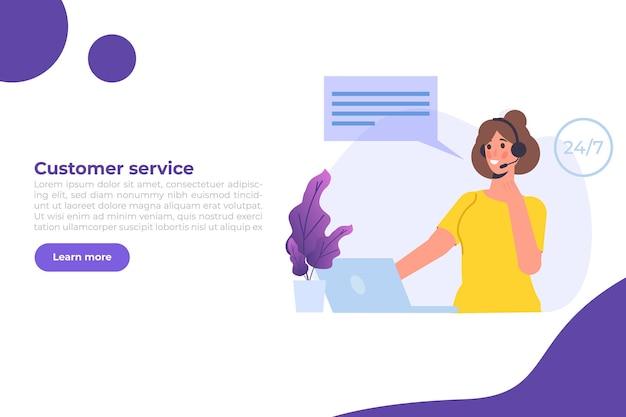 Plantilla de centro de llamadas. servicio al cliente, concepto de línea directa. trabajadores de oficina con auriculares, agentes de telemarketing. ilustración vectorial