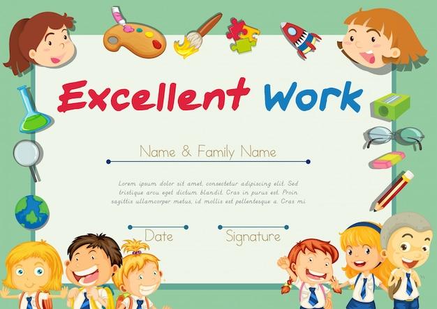 Plantilla de certificación para estudiantes con excelente trabajo