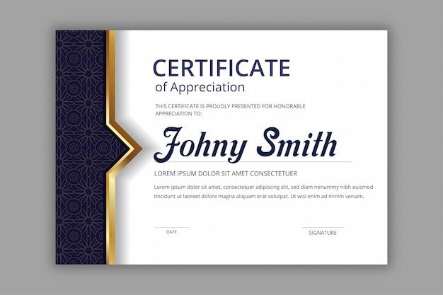 Plantilla de certificado abstracto con patrones sin fisuras de batik mandala azul marino