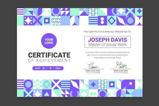 Plantilla de certificado académico moderno de diseño plano