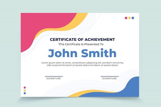 Plantilla de certificado de agradecimiento de onda abstracta