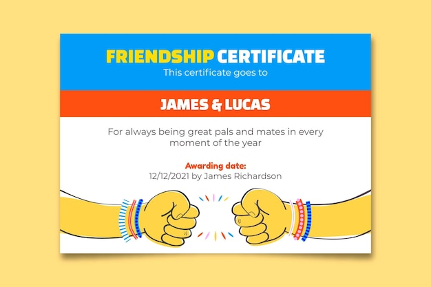 Plantilla de certificado de amistad colorido creativo