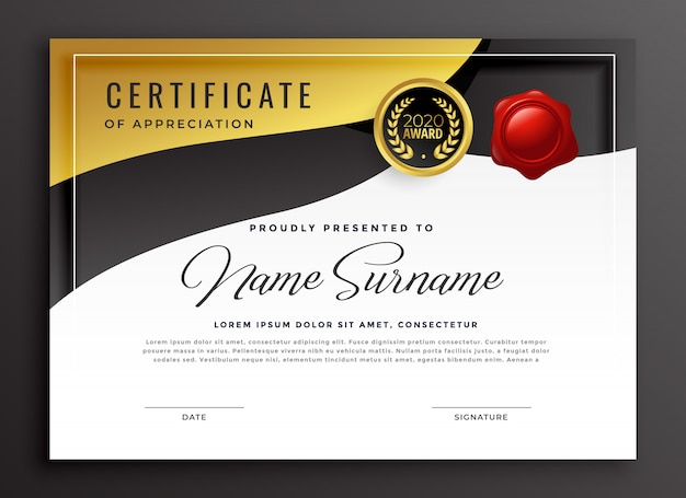 Plantilla de certificado de apreciación de oro