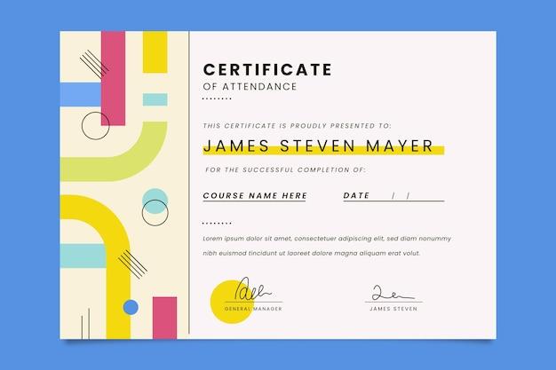 Plantilla de certificado de asistencia plana moderna