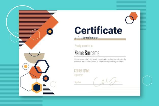 Plantilla de certificado de asistencia plana