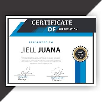 Plantilla con certificado azul y blanco