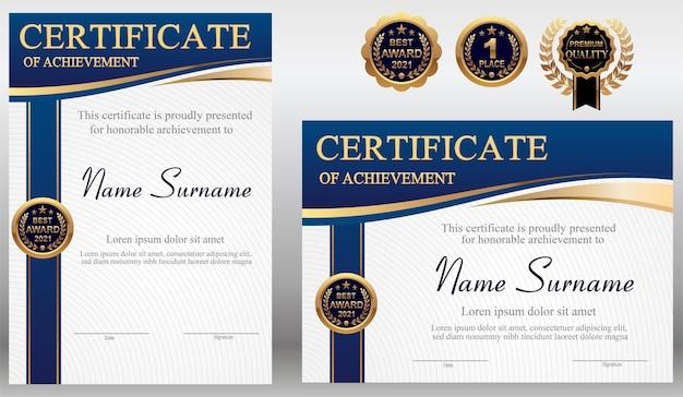 Plantilla de certificado azul y dorado