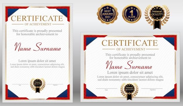 Plantilla de certificado azul rojo y dorado