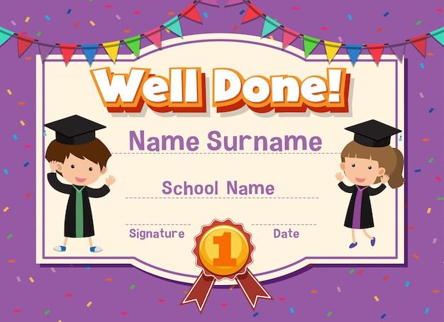 Plantilla de certificado para bien hecho con niños