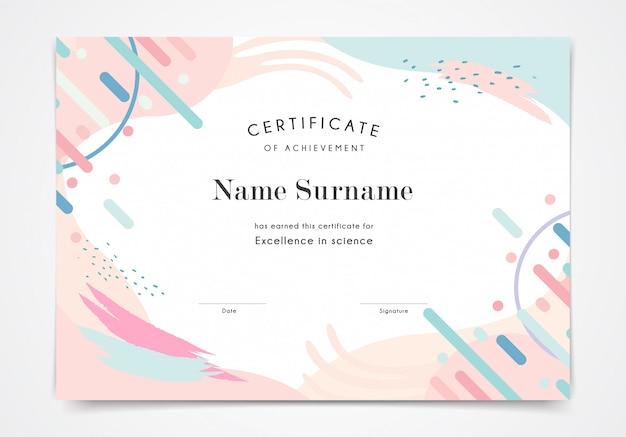Plantilla de certificado en color pastel de estilo memphis
