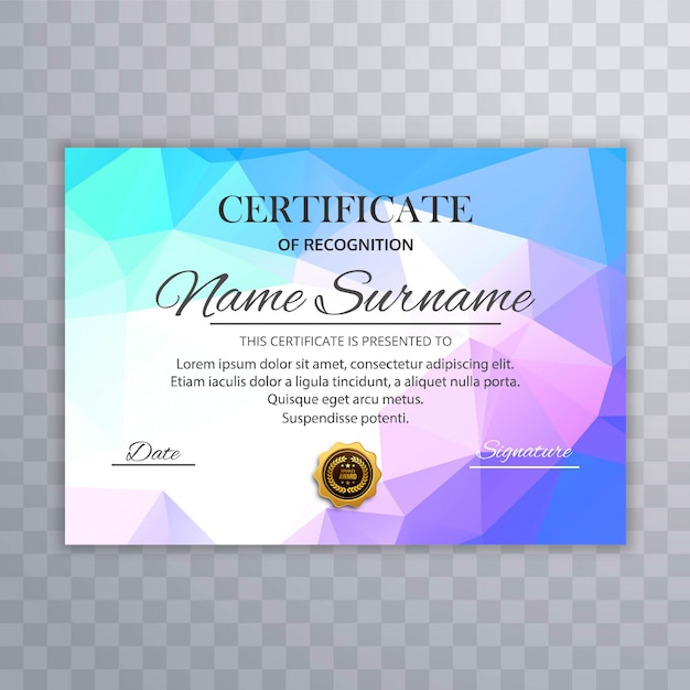 Plantilla de certificado colorido abstracto con diseño de polígono
