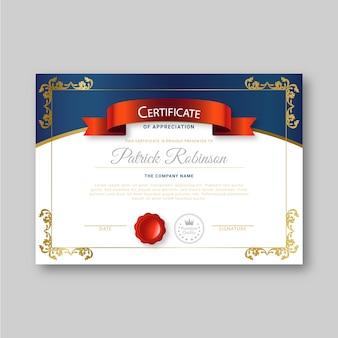 Plantilla de certificado con concepto elegante