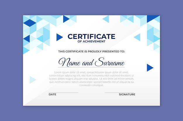 Plantilla de certificado en concepto geométrico