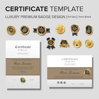 Plantilla de certificado creativo con detalles dorados