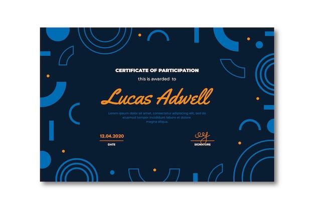 Plantilla de certificado creativo con formas geométricas
