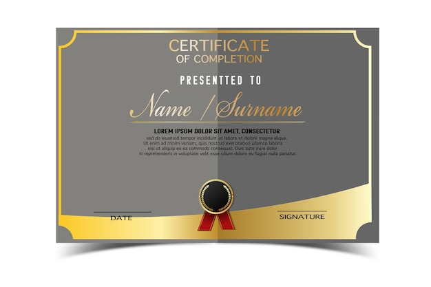 Plantilla de certificado creativo para el premio de finalización con formas doradas y insignia. limpio y moderno para diploma, premios oficiales o diferentes. ilustración de vector
